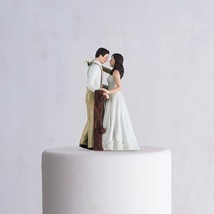 Rustic Couple Porcelain Figurine Wedding Cake Topper White Dress Customi... - $45.98