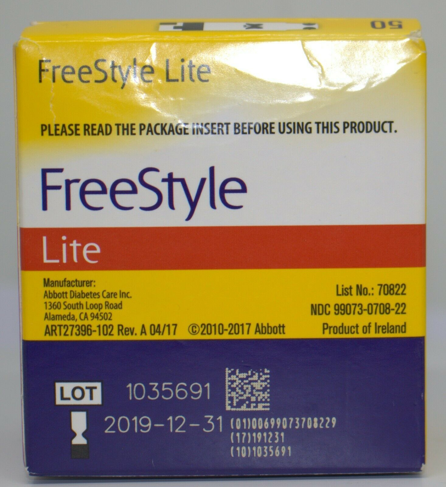 Primary image for Freestyle Lite Blood Glucose Diabetic Test Strips 50 ct exp 12/31/19