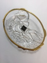 MIKASA Gold Rim Golden Goose Sweet Candy Nut Crystal Glass Serving Dish - $19.59