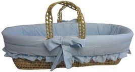 Baby Doll Bedding Satin Trim Moses Basket, Blue - $73.22