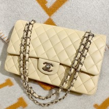 SALE* AUTHENTIC Chanel Quilted Lambskin Classic Medium Beige Double Flap Bag SHW image 2
