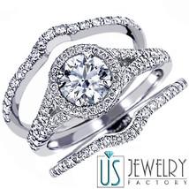 1.76 CT (0.71) F-SI2 HALO SET ROUND DIAMOND ENGAGEMENT MATCHING WEDDING ... - €2.991,57 EUR