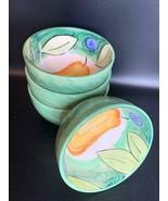 Set of 4 Bob Mackie Pears, Plums, Green Rim, No Trim Soup Bowls NICE! 5.... - $39.59