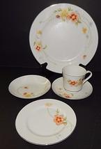Annabelle Fine China Japan Yellow Orange Flower #2360 White 5 Piece Sett... - $39.59