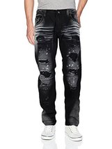 Contender Men's Moto Quilted Zip Distressed Ripped Denim Jeans (40W x 32L, 9FT22