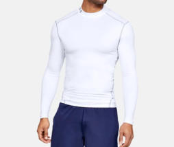 Under Armour Men's ColdGear Compression Mock Tee NEW AUTHENTIC White 126... - $49.99