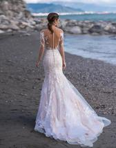 Elegant Illusion Lace Appliqued Mermaid Wedding Dresses Long Sleeve Beach Weddin image 3