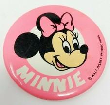 "VTG Walt Disney Productions 3"" Minnie Mouse Button Pin Pinback Pink - $13.03"
