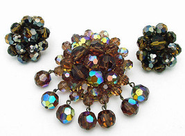 Vintage AB Crystal Cluster Brooch w/Trombone Closure & Matching Cluster ... - $99.95