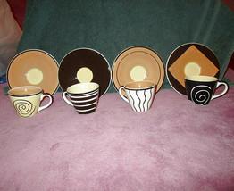 Nib 8X Lot Hues N Brews Espresso Demitasse Cups & Saucers Porcelain Hand Painted - $23.79