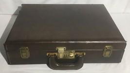 Vintage PRESTO LOCK Briefcase Brown Leather Durable Case Distressed W/ Wear - $34.64