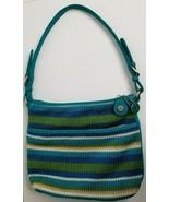 THE SAK Blue Green Stripe Crochet Zipper Shoulder Purse Handbag - $19.99