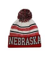 Nebraska Men's Blended Stripe Winter Knit Pom Beanie Hat (Red/White) - $12.95