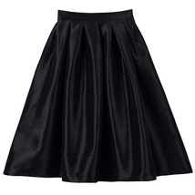 Women Pink Full Pleated Party Skirt A Line High Waist Knee Length Taffeta Skirt  image 8