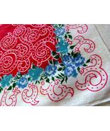 "1950s Western Cowboy Everyday Handkerchief  16 1/2"" Cotton Linen Blend B... - $6.90"