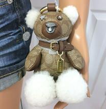 COACH Bear Keychain Bag Charm Leather & Signature Canvas NWT - $69.29