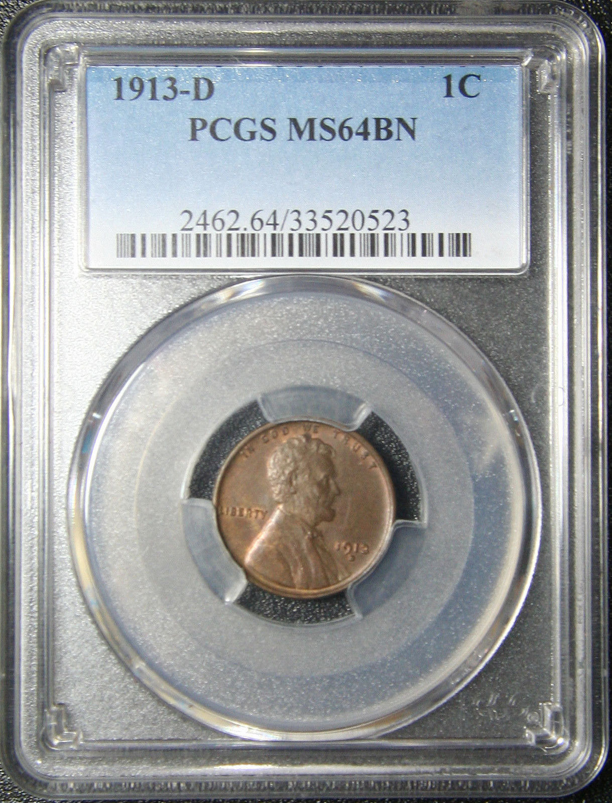 1913D PCGS MS64BN LINCOLN PENNY 1¢ Cent Wheat Coin LOT# SR 1053