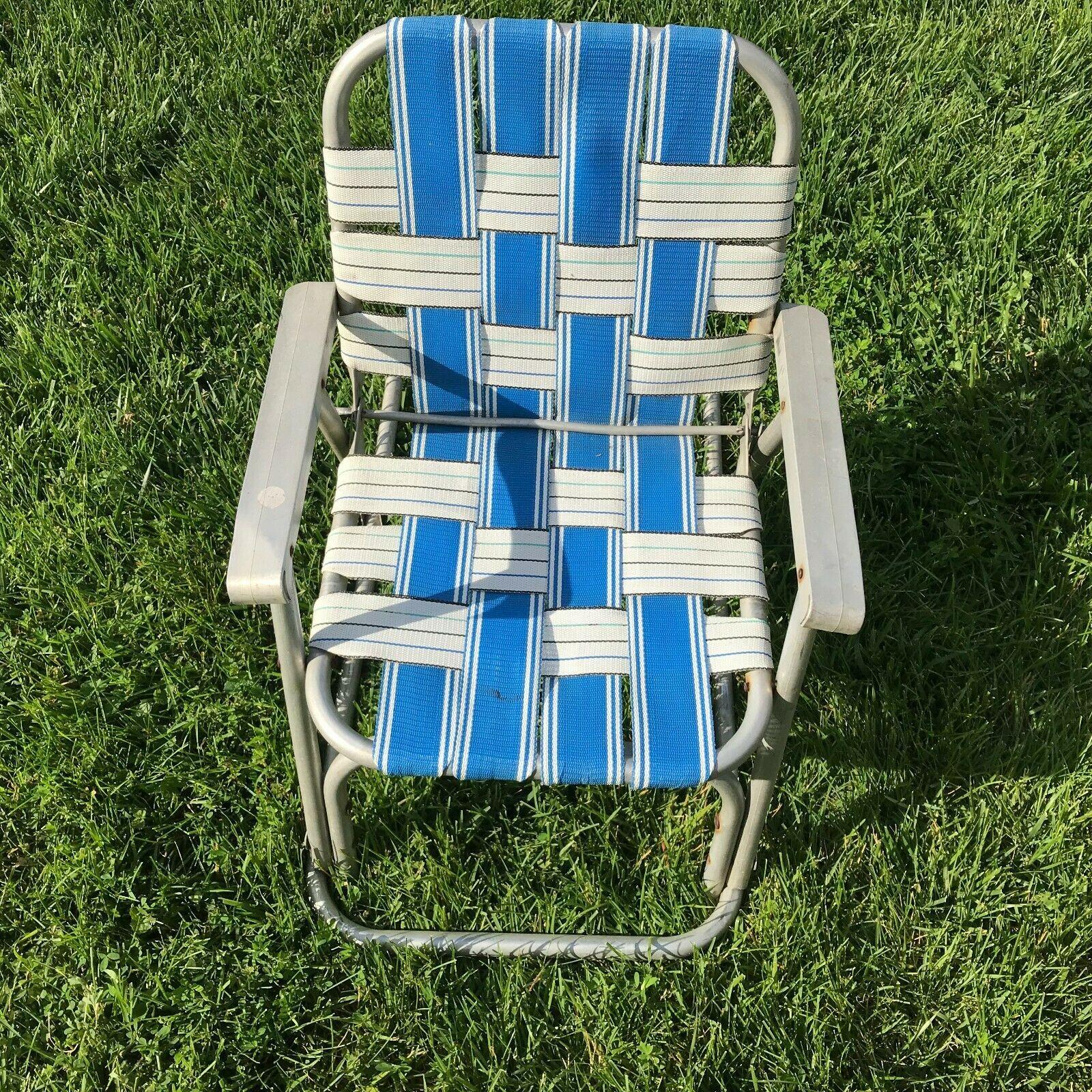 Vtg ALUMINUM child's Rocking Chair Webbed Blue/White Folding Rocker Toddler
