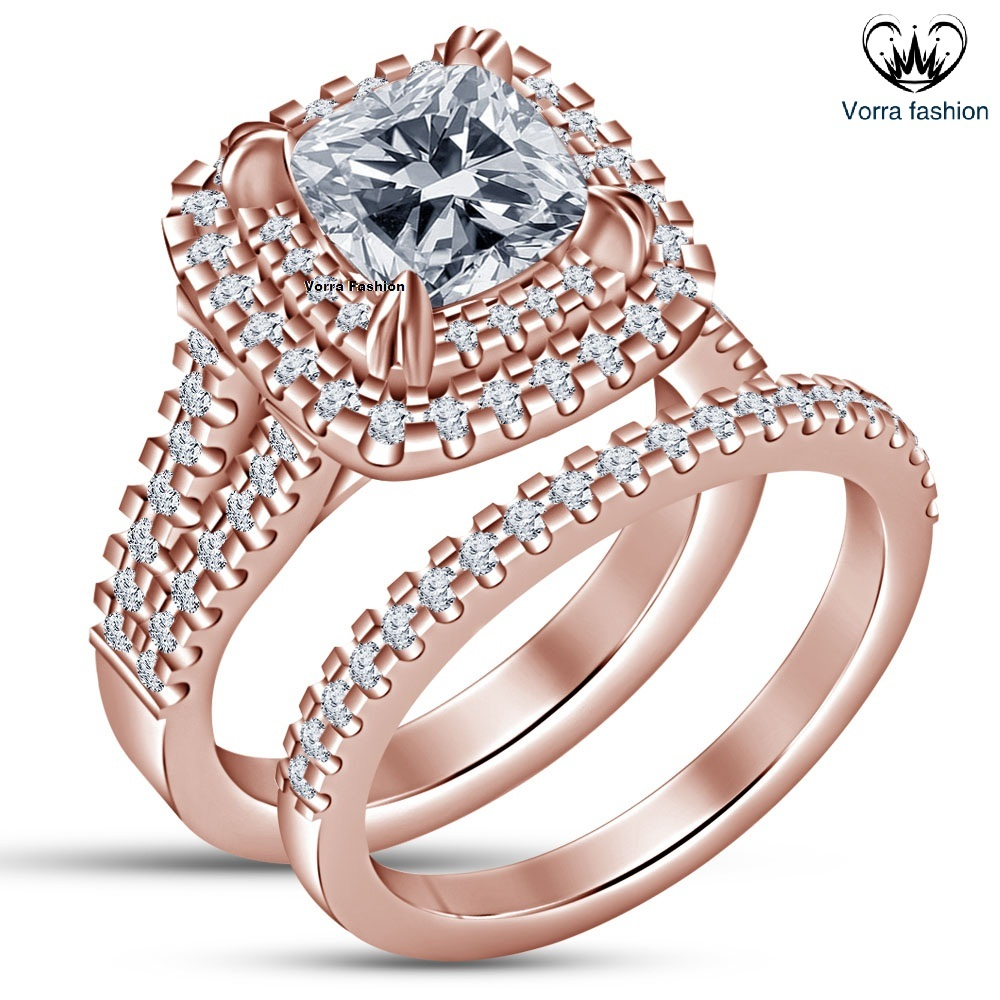 Primary image for Cushion Cut CZ 14k Rose Gold Plated Sterling Silver Bridal Engagement Ring Set