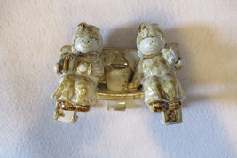 cute pair angels sitting on bench with gifts candle holder, glazed angel... - $25.00
