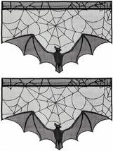 2Pcs Black Lace Bat Halloween Props Scary Indoor Decorations Window Curt... - $18.90