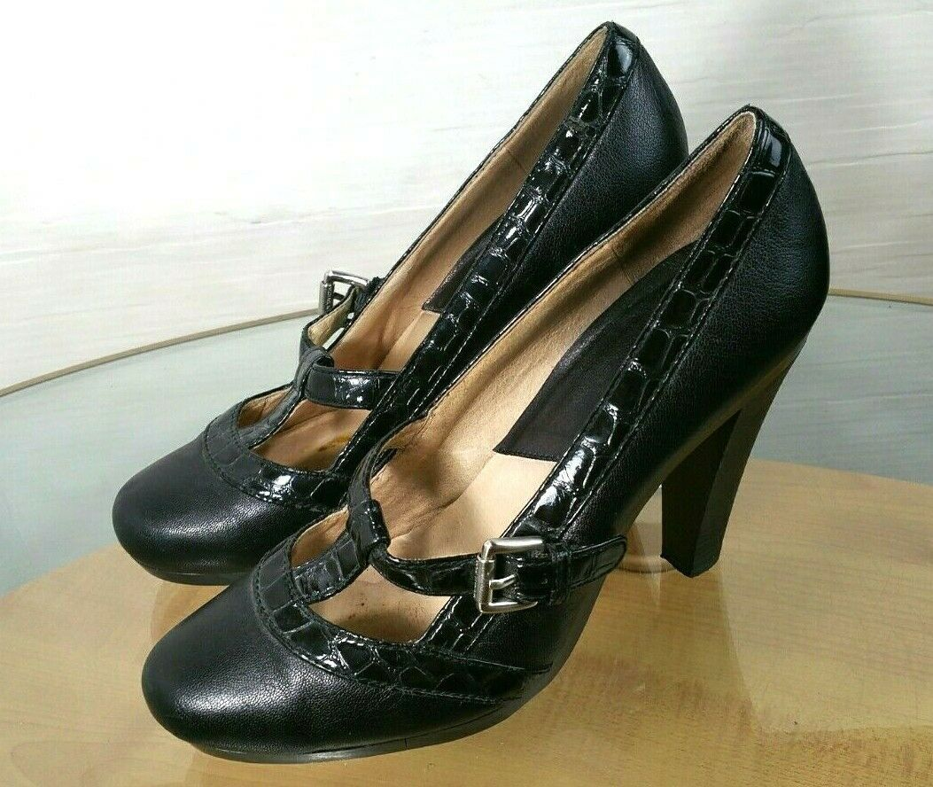Primary image for Michael Kors Black Leather T-Strap Mary Jane Pumps Heels Size 10