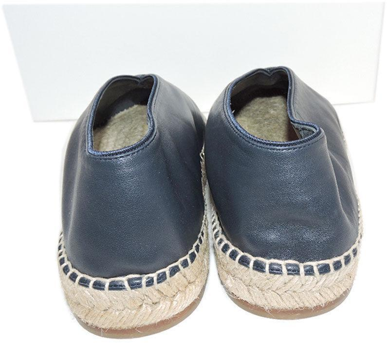 Celine Paris Flat Sandal V Neck Navy Leather Espadrille 39 Flats Ballerina