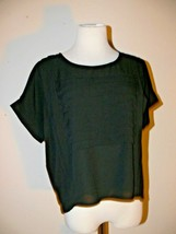 Chloe K Black Sheer Shirt Top Short Sleeve Size Small  th - $11.50