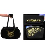 80s Set of 3 Black Velvet & Satin Ruffle Golden Embroidered Evening Bad ... - $95.00