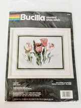 Bucilla Tulip Flowers Kit Crossstich Kit 9 x 12 Vintage 1990 Complete Se... - $32.95