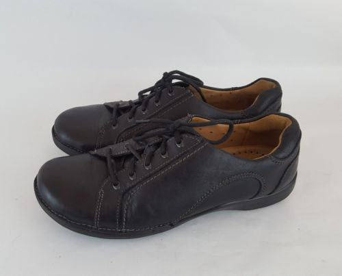 Clarks Unstructured Oxford leather sneaker casual black leather women's 7W