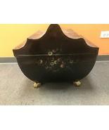 Vintage COAL CABINET Scuttle Bin BLACK with FLORAL PAINTED Design Handle... - $151.46