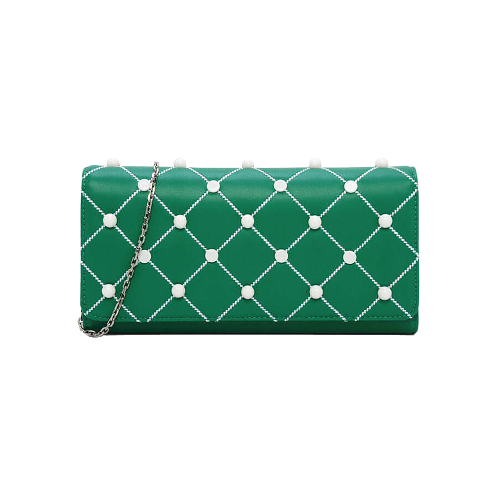 Primary image for Charles & Keith Embellished Quilted Wallet Chain Clutch Small Shoulder Bag Green