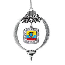 Inspired Silver Ecuador Flag Classic Holiday Christmas Tree Ornament - $14.69