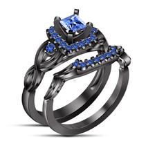925 Silver Blue Sapphire Black Wedding Engagement Bridal Ring Set - $112.00