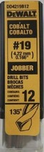Dewalt DD4219B12 Cobalt #19 Jobber Drill Bits 12 Pack - $21.78