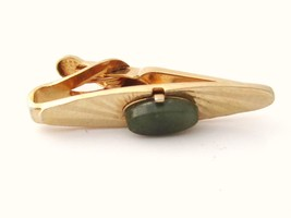 Jade Green Gemstone Vintage Gold Plated Small Signed Shields Tie Clip Cl... - $14.84