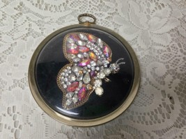 Vintage,  Framed , Handcrafted Butterfly Rhinestones  Wall Decor, 5in D - $28.45
