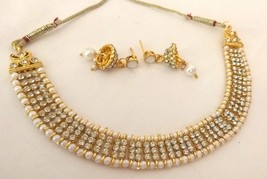 Indian Bollywood Ethnic Gold Plated Pearl White Bridal Jewellery Necklace Set - $10.09