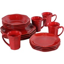 Red Fleur De Lis Crest Fluted 16 Piece Ceramic Dinnerware Set - $188.00