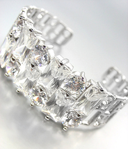 STUNNING 18kt White Gold Plated Mosaic Cluster CZ Crystals Cuff Bracelet - $49.99