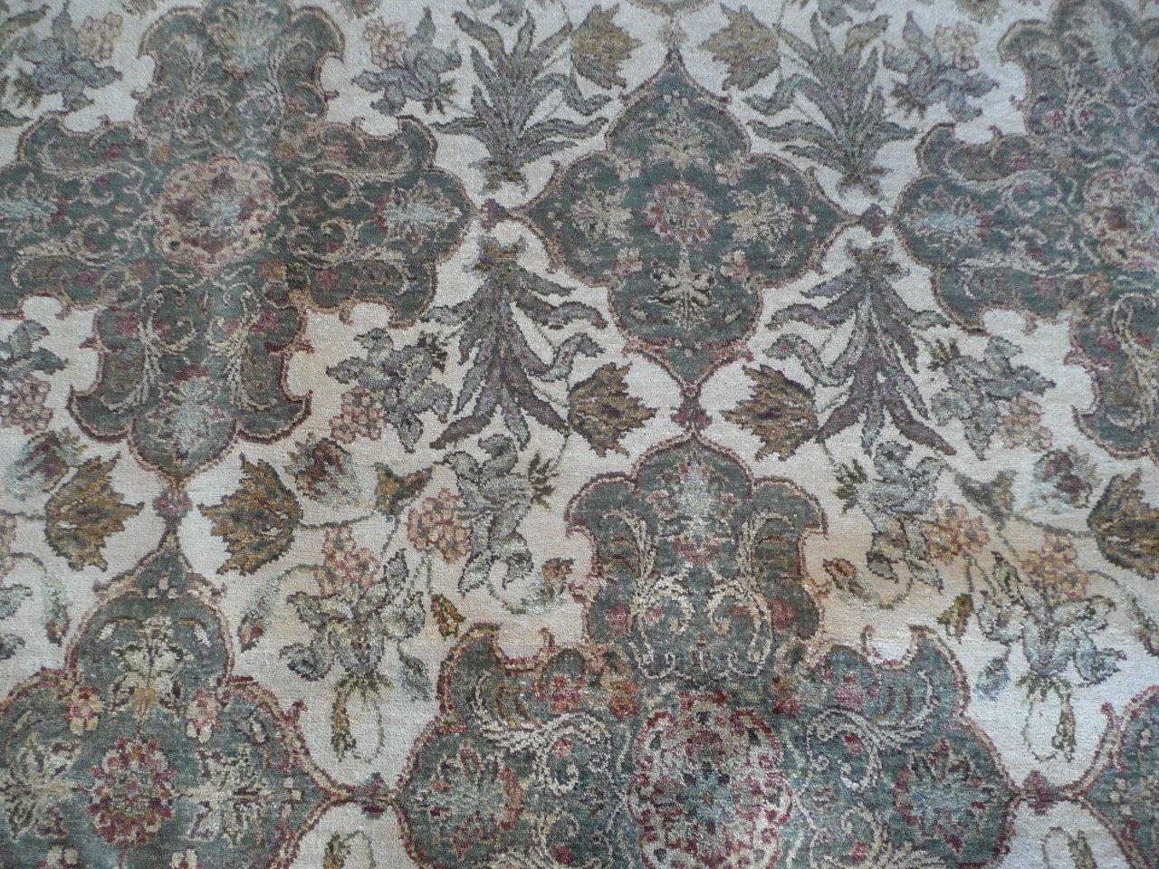 9 X 11'7 Hand Knotted Beige/burgundy Fine Agra Design Oriental Rug G586