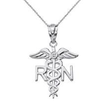 Sterling Silver Registered Nurse Symbol CZ Pendant Necklace - $19.99+