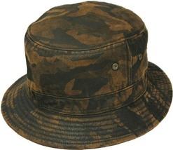 Henschel Cotton Blend Bucket Hat Medium Brim Eyelets To Ventilate Dark Camo - $52.00