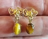 TIGER EYE Dangling EARRINGS in GoldTone Double Hearts setting - FREE SHIPPING