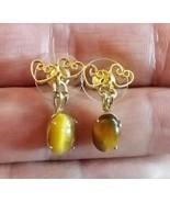 TIGER EYE Dangling EARRINGS in GoldTone Double Hearts setting - FREE SHIPPING - £14.97 GBP