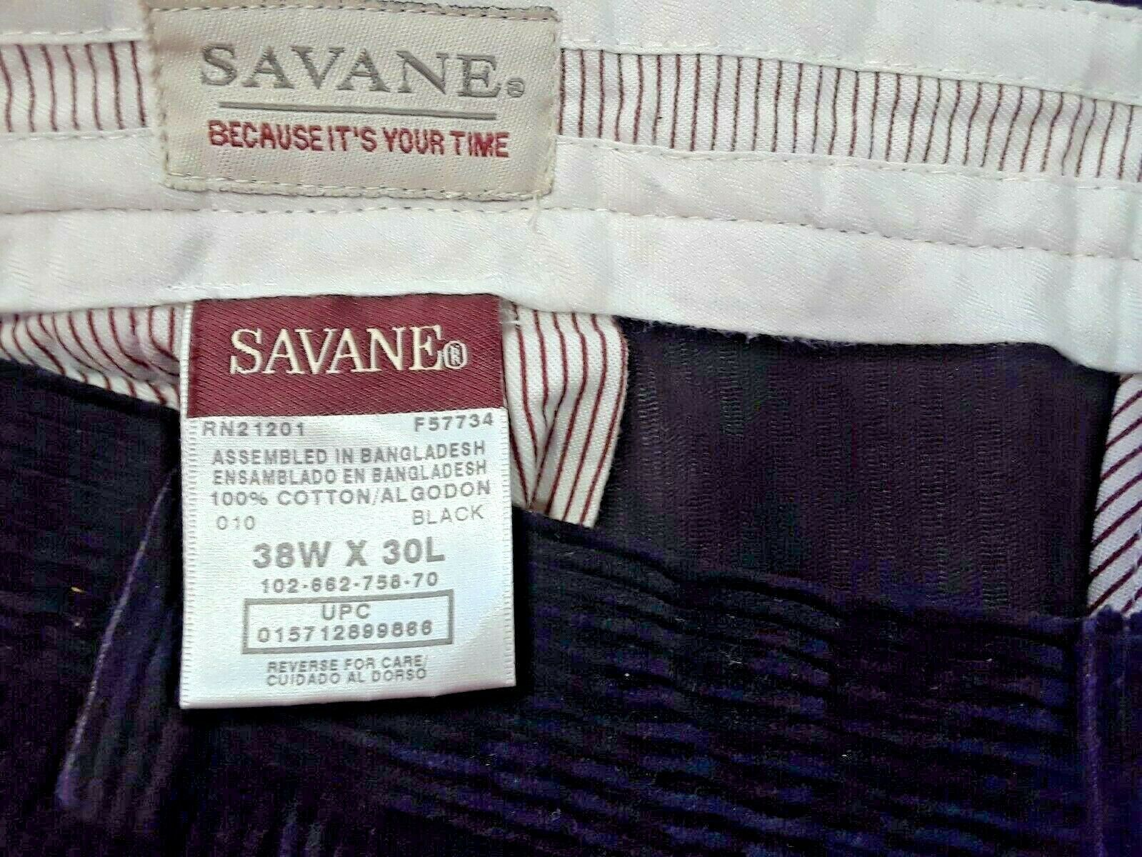 Savane Quality Mens Pants Black Corduroy 38/30 (Z)