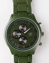 I.N.C. Men's Matte Olive Green Silver Faux Sub Dials Link bracelet watch 42mm