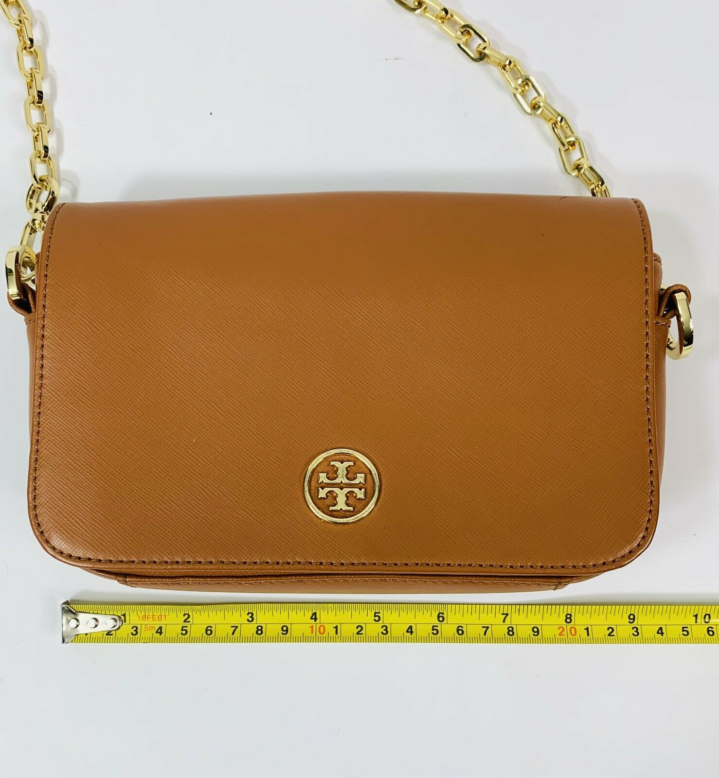 Tory Burch Robinson Chain Strap Tiger's Eye Brown Leather Crossbody Bag image 7