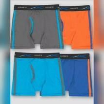 Hanes Boy's Multi Gray Blue Orange 4pk X-Temp Poly Mesh Boxer Briefs XL ... - $8.59